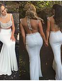 Χαμηλού Κόστους Βραδινά Φορέματα-Τρομπέτα / Γοργόνα Με Κόσμημα Ουρά Σιφόν / Τούλι Φανταχτερό / Κομψό Επίσημο Βραδινό Φόρεμα 2020 με Χάντρες