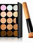 billige Øyenskygger-15 farger Concealer Kaki Concealer / Contour 1 pcs Tørr / Våt / Matt Vanntett / Pustende / Bleking Krop / Ansikt Sminke kosmetisk
