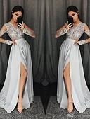 Χαμηλού Κόστους Φορέματα Χορού Αποφοίτησης-Γραμμή Α Λαιμόκοψη V Ουρά Σιφόν Κομψό Επίσημο Βραδινό Φόρεμα 2020 με Διακοσμητικά Επιράμματα / Με Άνοιγμα Μπροστά