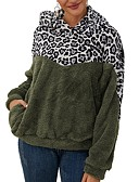 cheap Women's Blouses-Women's Color Block Long Sleeve Pullover Sweater Jumper, Hooded White / Army Green / Dark Gray S / M / L