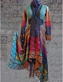 olcso Kabát & Viharkabát-Női Napi Szokványos Kabát, Mértani V-alakú Hosszú ujj Poliészter Bíbor / Narancssárga / Sárga