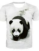 Χαμηλού Κόστους Ανδρικά μπλουζάκια και φανελάκια-Ανδρικά T-shirt Βασικό / Εξωγκωμένος Γεωμετρικό / 3D / Ζώο Στάμπα Πάντα Λευκό