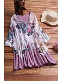 ราคาถูก เสื้อยืดสำหรับสุภาพสตรี-สำหรับผู้หญิง ขนาดพิเศษ เชิร์ต คอวี หลวม ลายดอกไม้ สีม่วง