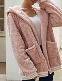 billige Gensere til damer-Dame Daglig Høst vinter Lang Faux Fur Coat, Ensfarget Med hette Langermet Bomull / Polyester Svart / Vin / Lyseblå