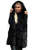 povoljno Ženske kaputi od kože i umjetne kože-Žene Dnevno Jesen zima Dug Mellény, Jednobojni S kapuljačom Dugih rukava Poliester Crn / Braon / Sive boje