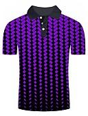 ราคาถูก เสื้อโปโลสำหรับผู้ชาย-สำหรับผู้ชาย Polo พื้นฐาน ลายพิมพ์ ลายบล็อคสี / 3D สีม่วง