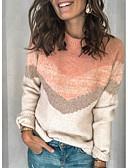 billige Gensere til damer-Dame Fargeblokk Langermet Pullover Genserjumper, Rund hals Rosa M / L / XL