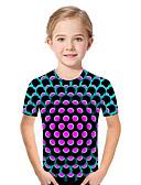 baratos Blusas para Meninas-Infantil Bébé Para Meninas Activo Básico Geométrica Estampado Estampa Colorida Estampado Manga Curta Camiseta Fúcsia