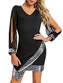 Χαμηλού Κόστους Φορέματα NYE-Γυναικεία Κομψό Θήκη Φόρεμα - Συνδυασμός Χρωμάτων, Πούλιες Ασύμμετρο