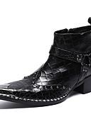 Χαμηλού Κόστους Men's Hats-Ανδρικά Fashion Boots Νάπα Leather Χειμώνας / Φθινόπωρο & Χειμώνας Καθημερινό / Βρετανικό Μπότες Μη ολίσθηση Μπότες στη Μέση της Γάμπας Μαύρο / Πάρτι & Βραδινή Έξοδος