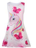 ราคาถูก เดรสเด็กผู้หญิง-เด็ก เด็กผู้หญิง หวาน Unicorn สัตว์ การ์ตูน ลายพิมพ์ เสื้อไม่มีแขน ยาวถึงเข่า กระโปรงชุด สีแดงชมพู
