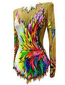 baratos Academia-Collant Para Ginástica Rítmica Collants Para Ginástica Artística Mulheres Para Meninas Vestidos Amarelo Elastano Elasticidade Alta Confeccionada à Mão Adornado Brilhante Manga Longa Competição Dança