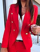 billige Blazere til damer-Dame Daglig Vår & Vinter Store størrelser Normal Jakke, Ensfarget Skjortekrage Langermet Polyester Svart / Hvit / Rød / Tynn