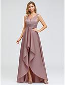 billige Ballkjoler-A-linje Stikkende halslinje Asymmetrisk Polyester Vintage Inspireret / Pastellfarger Skoleball Kjole 2020 med Belte / bånd / Drapert av Lightinthebox