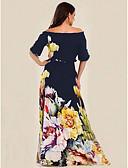 baratos Vestidos Estampados-Mulheres Básico balanço Vestido - Estampado, Floral Ombro a Ombro Longo