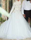 ราคาถูก ชุดแต่งงาน-A-line อัญมณี ชายกระโปรงคอร์ท ลูกไม้ / Tulle ชุดแต่งงานที่ทำขึ้นเพื่อวัด กับ ผ้าคาดเอว / โบว์ โดย LAN TING Express