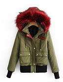 olcso Női hosszú kabátok és parkák-Női Egyszínű Kosaras, Poliészter Katonai zöld S / M / L