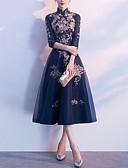 Χαμηλού Κόστους Φορέματα κοκτέιλ-Γραμμή Α Ζιβάγκο Κάτω από το γόνατο Πολυεστέρας Κομψό Κοκτέιλ Πάρτι / Αργίες Φόρεμα 2020 με Κέντημα / Πλισέ