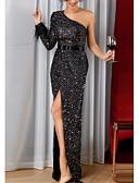 baratos Vestidos de Noite-Tubinho Assimétrico Longo Paetês Brilho & Glitter Evento Formal Vestido 2020 com Miçangas / Detalhes em Cristal / Penas / Pêlo de Lightinthebox