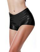 baratos Moda Íntima Exótica para Homens-Mulheres Moda de Rua Delgado Shorts Calças - Sólido Cintura Alta Preto Roxo Dourado S M L