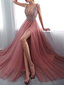 Χαμηλού Κόστους Φορέματα NYE-Γυναικεία Φαρδιά Swing Φόρεμα - Μονόχρωμο Μακρύ Λαιμόκοψη V Βαθύ V
