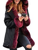 baratos Casacos para mulheres-Mulheres Sólido Acolchoado, POLY Preto / Vinho / Camel S / M / L / Solto