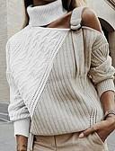olcso Női pulóverek-Női Színes Hosszú ujj Pulóver Pulóver jumper, Körgallér Fekete / Arcpír rózsaszín / Barna S / M / L