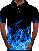 baratos Pólos Masculinas-Homens Tamanhos Grandes Polo Moda de Rua / Exagerado Estampado, Estampa Colorida / 3D / Gráfico Colarinho de Camisa Azul / Manga Curta