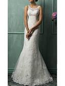 Χαμηλού Κόστους Νυφικά-Τρομπέτα / Γοργόνα Ώμοι Έξω Ουρά Τούλι Κανονικοί ιμάντες Φορέματα γάμου φτιαγμένα στο μέτρο με Χάντρες / Διακοσμητικά Επιράμματα 2020