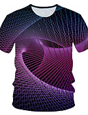 baratos Camisetas & Regatas Masculinas-Homens Camiseta Moda de Rua / Exagerado Estampado, Estampa Colorida / 3D / Gráfico Roxo