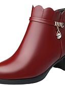 Χαμηλού Κόστους Γυναικεία περιτύλιγμα & κασκόλ-Γυναικεία Μπότες Κοντόχοντρο Τακούνι Στρογγυλή Μύτη PU Μποτίνια Χειμώνας Μαύρο / Κρασί