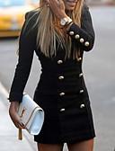 baratos Mini Vestidos-Mulheres Bainha Vestido Sólido Decote V Mini