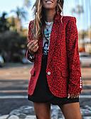 billige Blazere til damer-Dame Blazer, Leopard Hakkjakkeslag Polyester Gul / Rød / Grå