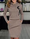 Χαμηλού Κόστους Γυναικεία Φορέματα-Γυναικεία Βασικό Θήκη Φόρεμα - Φλοράλ Ως το Γόνατο Στρογγυλή Ψηλή Λαιμόκοψη