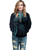 Χαμηλού Κόστους Γυναικείες Μπλούζες με Κουκούλα & Φούτερ-Γυναικεία Ενεργό / Κομψό στυλ street Φούτερ με Κουκούλα - Γεωμετρικό / Συνδυασμός Χρωμάτων / 3D