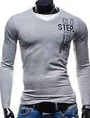 billiga Herrtröjor-Bokstav T-shirt Herr Ljusgrå