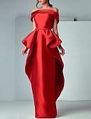 baratos Vestidos de Coquetel-Tubinho Ombro a Ombro Longo Cetim Elegante Evento Formal Vestido 2020 com