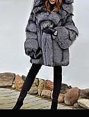 Χαμηλού Κόστους Women's Fur & Faux Fur Coats-Γυναικεία Πάρτι / Καθημερινά Βασικό Χειμώνας Κανονικό Faux Fur Coat, Μονόχρωμο Με Κουκούλα Μακρυμάνικο Ψεύτικη Γούνα Γκρίζο