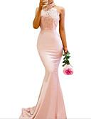 Χαμηλού Κόστους Φορέματα Παρανύμφων-Τρομπέτα / Γοργόνα Δένει στο Λαιμό Ουρά Πολυεστέρας Φόρεμα Παρανύμφων με Διακοσμητικά Επιράμματα / Ανοικτή Πλάτη
