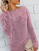 baratos Suéteres de Mulher-Mulheres Sólido Manga Longa Pulôver Camisola Jumper, Decote Canoa Preto / Vinho / Roxo S / M / L