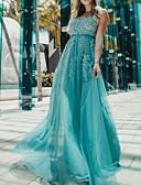 baratos Vestidos Baile Formatura-Linha A Decote mergulhador Longo Renda / Tule Frente Única Baile de Formatura Vestido 2020 com Apliques / Detalhes em Cristal