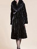 Χαμηλού Κόστους Women's Fur & Faux Fur Coats-Γυναικεία Καθημερινά Βασικό Μακρύ Faux Fur Coat, Μονόχρωμο Turndown Μακρυμάνικο Ψεύτικη Γούνα Μαύρο