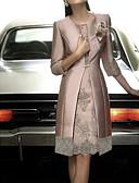 billige Cocktailkjoler-Dame Elegant Sateng Tynn Skjede Todelt Kjole - Blomstret, Blonde Knelang