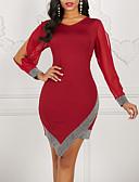 baratos Vestidos de Mulher-Mulheres Elegante Bainha Vestido - Paetês, Estampa Colorida Decote V Assimétrico