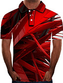 baratos Pólos Masculinas-Homens Polo Moda de Rua / Exagerado Estampado, Estampa Colorida / 3D / Gráfico Vermelho