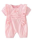 ราคาถูก เสื้อผ้าชิ้นเดียวเด็กผู้หญิง-ทารก เด็กผู้หญิง พื้นฐาน ทุกวัน สีพื้น เสื้อไม่มีแขน ฝ้าย หนึ่งชิ้น สีแดงชมพู