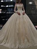 Χαμηλού Κόστους Νυφικά-Γραμμή Α Ώμοι Έξω Ουρά μέτριου μήκους Δαντέλα Μακρυμάνικο Φορέματα γάμου φτιαγμένα στο μέτρο με Κρυστάλλινη λεπτομέρεια 2020