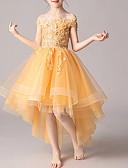 Χαμηλού Κόστους Λουλουδάτα φορέματα για κορίτσια-Βραδινή τουαλέτα Ασύμμετρο Φόρεμα για Κοριτσάκι Λουλουδιών - Πολυεστέρας Κοντομάνικο Ώμοι Έξω με Διακοσμητικά Επιράμματα