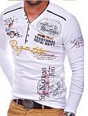 baratos Camisas Masculinas-Homens Tamanho Europeu / Americano Camiseta Letra Decote V Preto / Manga Longa