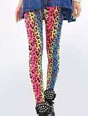 baratos Leggings para Mulheres-Mulheres Moda de Rua Delgado Leggings Calças - Leopardo Arco-íris Tamanho Único